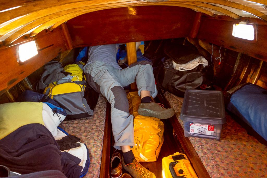 Gepäck im Boot