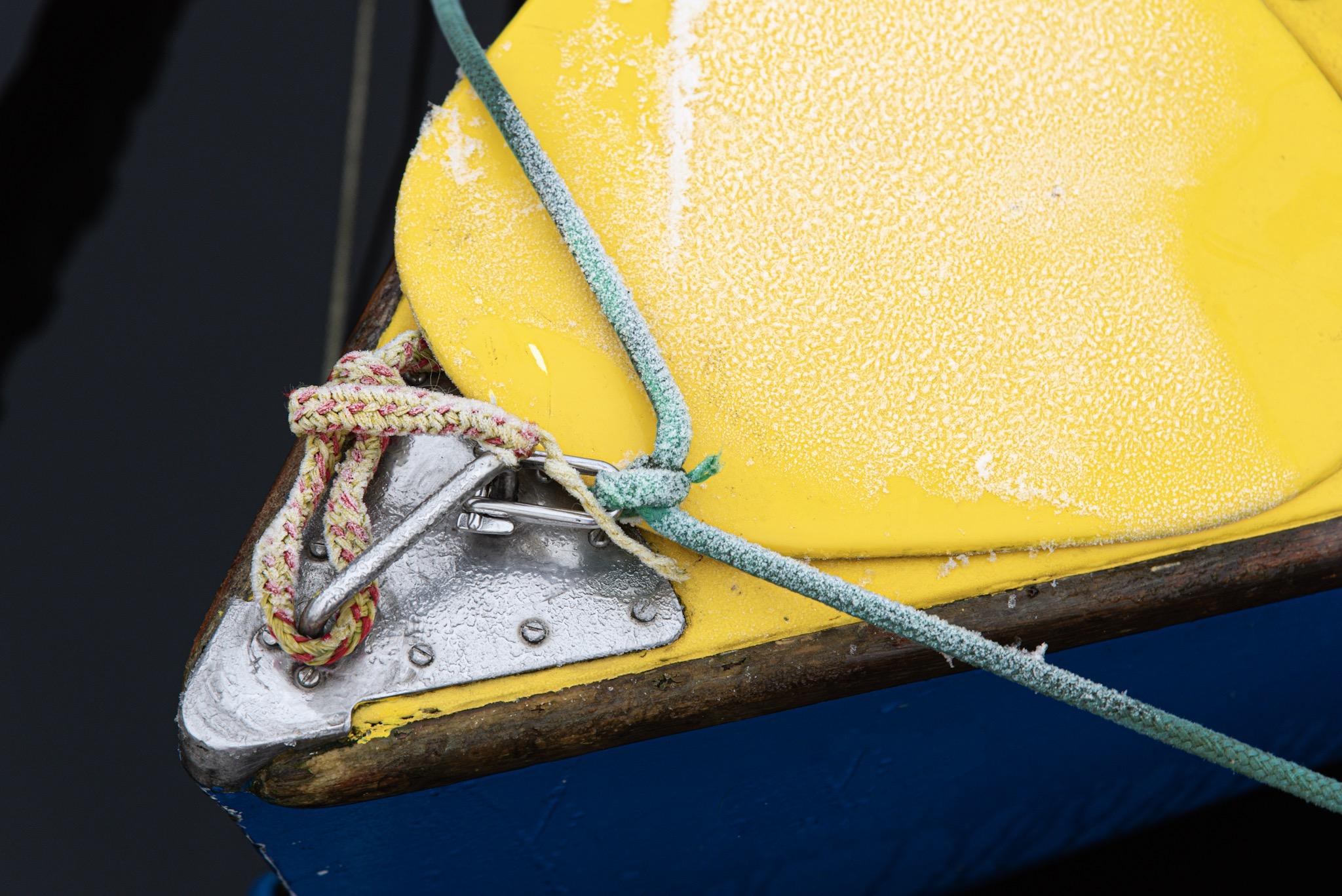 Eis auf dem Boot